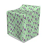 Lunarable Floral Washer Cover, Crocus Bouquets Romantic Spring Flourishing Flowering Plants Pattern, Decorative Accent for Laundromats, 29' x 28' x 40', Pastel Green and Violet