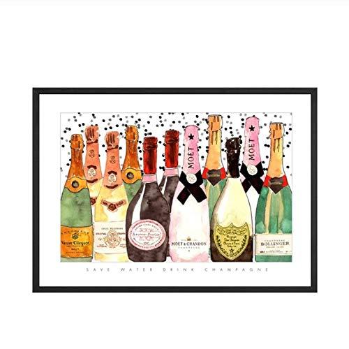 Terilizi Wohnkultur afdrukken Schilderij Scandinavische stijl champagne fles foto's Wandkunst Canvas Poster Modern voor nacht achtergrond 50 * 70cm niet ingelijst