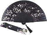 Handfächer Charmante Elegante Moderne Frau handgemachte Bambusseide 8,27 Zoll (21 cm) Falttasche Geldbörse Handventilator