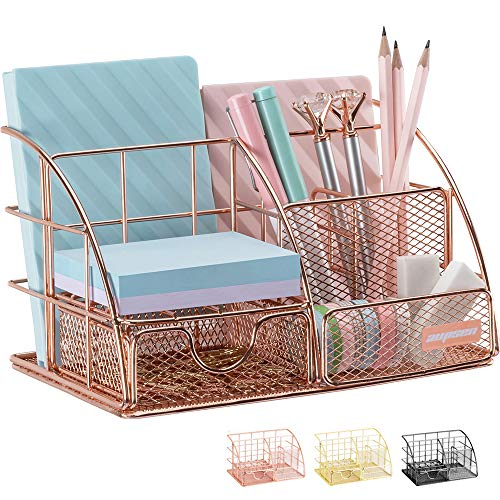 Mesh Desk Organizer with 5 Compartments & Sliding Drawer, 2 Colors - $16.97