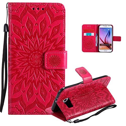 Vectady für Samsung Galaxy S6 Hülle, Schutzhülle Case Leder Tasche Brieftasche Handyhüllen mit Kartenfach Magnet Geldbörse Flip Innere Silikon TPU Cover Handytasche für Samsung Galaxy S6,Rot