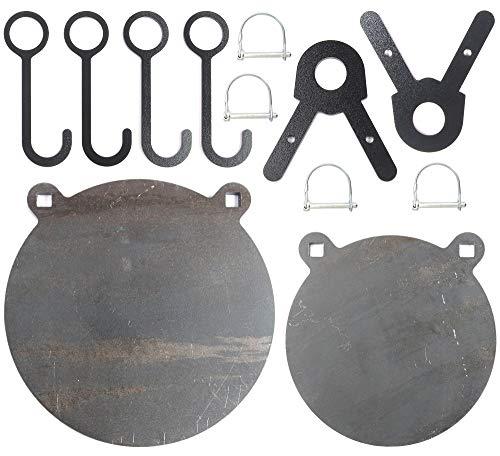 FULLBOW AR500 Gong Targets and Steel Target Hangers Combo Pack - DIY Target Kit for 1 Inch OD EMT Conduit - 8 and 10 Inches AR500 Steel Targets for Each, 4 Target Hang Hooks and 2 Leg Brackets