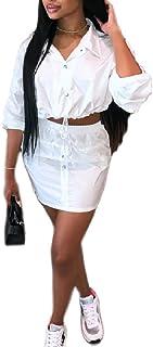 YAXINHE 女性のクロップドカジュアルボタンスカートは、ツーピースドレスドレスを設定