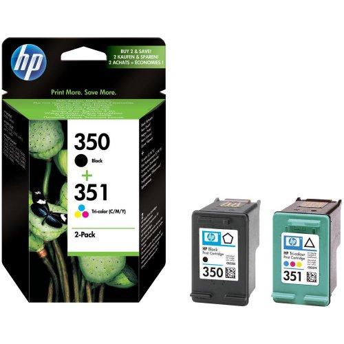 HP 350 Schwarz /351 SD412EE drei farbe doppelpack original tinten patronen -(Frustfreie Verpackung) Foil Paket, Easy Mailer - Kein Karton