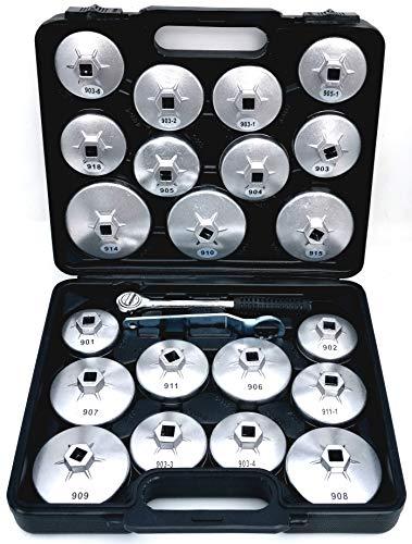 SYTO24, 23tlg. Oelfilter-Kappen, Oelfilter-Werkzeug, Oelfilter-Schlüssel, Oelfilter-Glocken aus Alu-Druckguss passend zu fast allen gängigen Ölfiltern