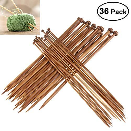 Stricknadel,36 Pack 18 Größen Stricknadeln Bambus Set Bambus Einzelne Nadelspiel Stricknadeln Holz Handarbeit Knitting Needles für Anfanger