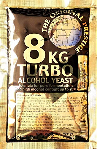 Hugbert Turbohefe 8 kg Prestige Vodka Alkohol Gärhefe Hefe gären 18% - 20%, 1 Stück