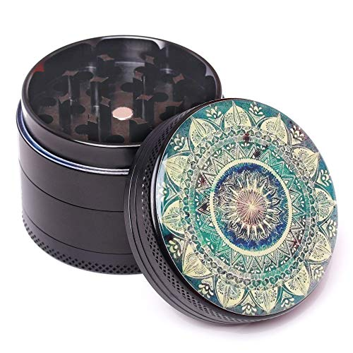 Molinillo de hierbas con filtro de aluminio irrompible, triturador de tabaco, picadora de especias con tapa magnética, 4 piezas, color negro, 50 mm