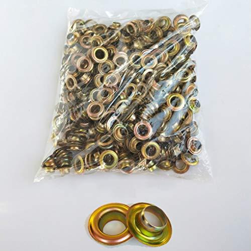 UII Ojales de perforación, ojales de metal, accesorios de perforación, utilizado para lienzo, lona, toldo, tela de inyección de tinta, cuero, póster de latón sin anillo (10 mm) 500 piezas