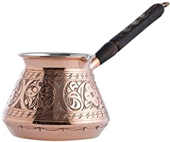 Thickest Engraved Copper Turkish Coffee Pot. A Very Authentic Piece. Completely Hand Made and Engraved in Turkey by CopperBull.(Check CopperBull logo under the pot to prevent copper plated imitations) Copper Thickness : 2mm Capacity: 15Oz (5-6 demita...