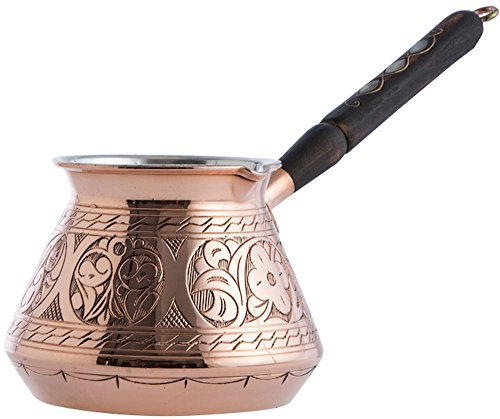 (Copper) - CopperBull THICKEST Solid Hammered Copper Turkish Greek Arabic Coffee Pot Stovetop Coffee Maker Cezve Ibrik Briki with Wooden Handle,(Large - 440ml) - ENGRAVED