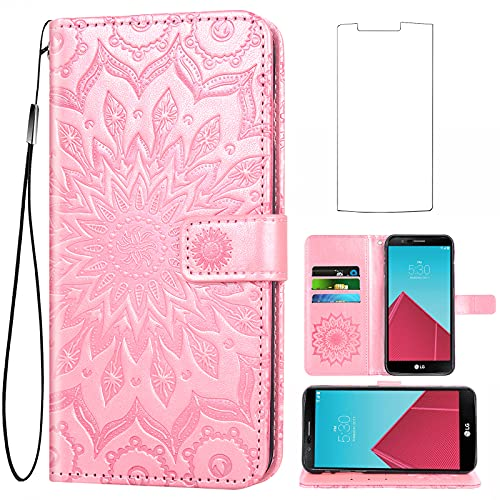 Asuwish Phone Case for LG G4 Wallet Cases with Tempered Glass Screen Protector and Sunflower Leather Slim Flip Cover Card Holder Stand Cell Accessories LGG4 LG4 4G Women Rose Gold