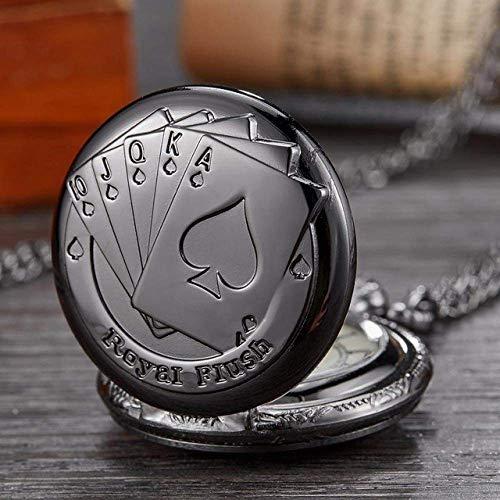 J-Love Reloj de Bolsillo Nuevo diseño de Esfera Poker Reloj de Bolsillo de Cuarzo Bronce Plata Negro Naipes Relojes con Cadena Reloj Colgante