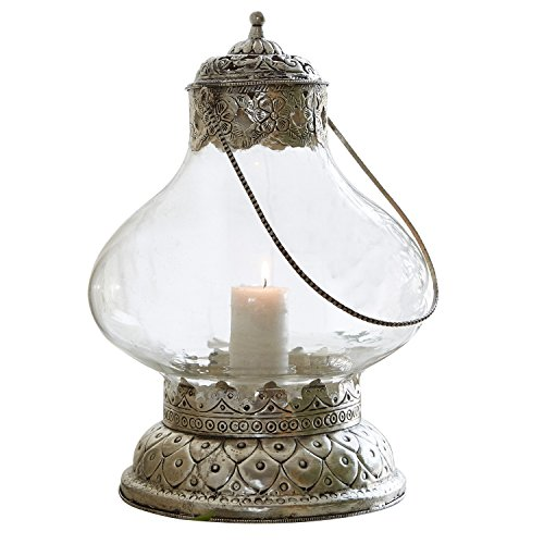 Loberon Laterne Kaela, Glas/Eisen, H/Ø ca. 29/22 cm, klar/antiksilber
