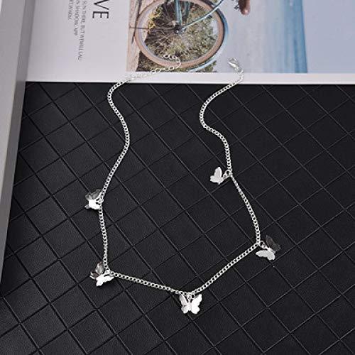 WWWL Collar de Mujer Collar Cadena Mujeres joyería de Plata Color Corto clavícula Coreana Chica de Moda aleación de Zinc