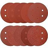 100Pcs Sanding Discs 6 Inch 6 Holes Assorted Grits 40 60 80 100 120 180 240 320 400 800, Hook and Loop Round Orbital Sander Pads, Sandpaper for Wood