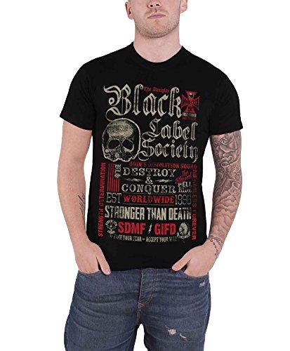 Black Label Society Destroy & Conquer offiziell Herren Nue Schwarz T Shirt