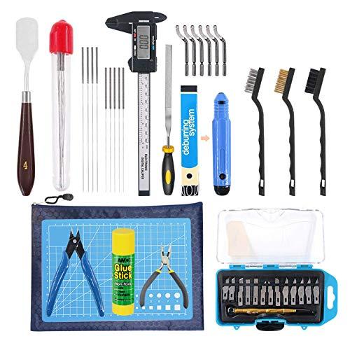 Kit di strumenti per stampante 3D, include kit di pulizia e rimozione, coltello da taglio per la pulizia del modello, ago spazzola pinze pinze strumenti di stampa 3D completi