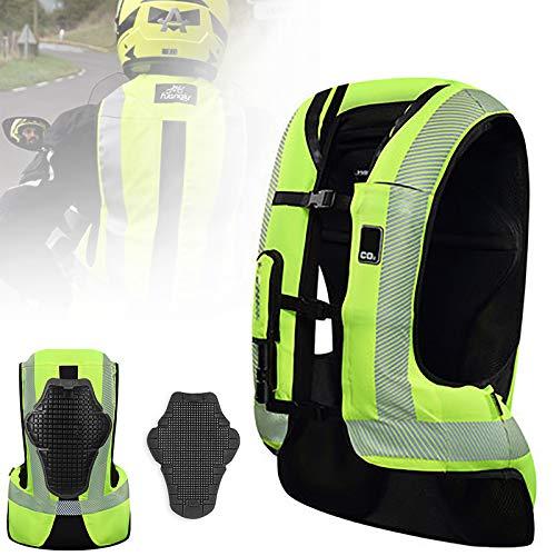ZZJCY 2021 Nueva Ropa Airbag De Moto, Chaleco Airbag Alta Visibilidad con Banda Reflectante, Traje Protector Seguridad, 200 Ms De Oleaje, para Moto Motocross Montar A Caballo,M