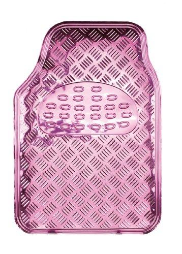 Bottari 29108 Gummifußmatte I Love Chrome aus PVC-Laminat, rutschfeste Oberfläche, 4 Teile, Rosa
