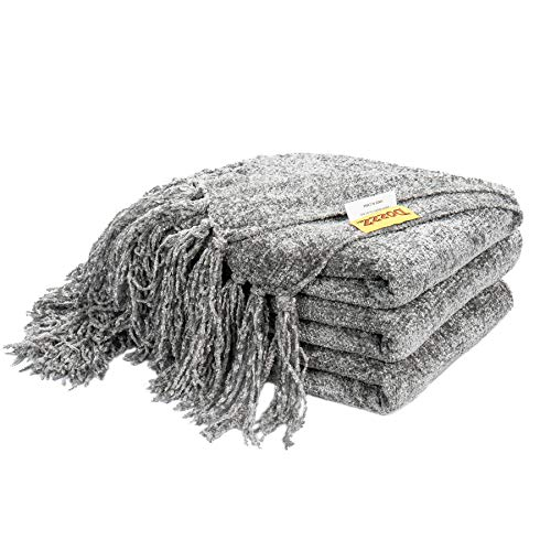 DOZZZ Fluffy Chenille Knitted Throw Blanket with Decorative...
