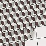 Sticker Carrelage adhésif Mural - Autocollant Stickers - Carreaux de Ciment Cuisine et Salle de Bain I Revêtement Mural adhésif - Design 3D Marbre Cubes - 15x15 cm - 27 adhésives carrelage