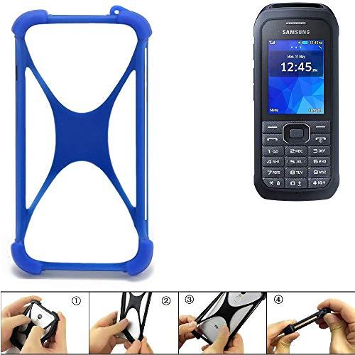 K-S-Trade® Handyhülle Für Samsung Xcover 550 Silikon Schutz Hülle Cover Case Bumper Silikoncase TPU Softcase Schutzhülle Smartphone Stoßschutz, Blau (1x),