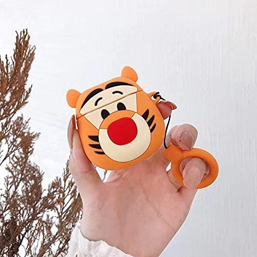 Funda para auriculares AirPods 1/2 Funny Cute Animated 3D Protector de auriculares con diseño de tigre saltando y anillos colgantes Airpods1/2