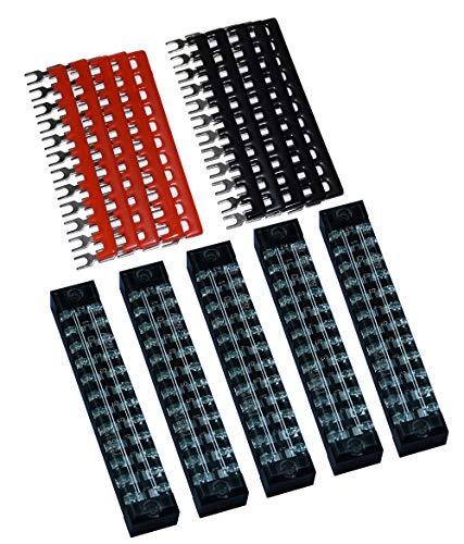5 Pcs Dual Row 12 Position Screw Terminal Strip 600V 15A + 400V 15A 12 Postions Pre Insulated Terminal Barrier Strip Red/Black 10 Pcs