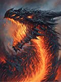 5D Full Drill Diamond Painting Animal Dragon Fire Kits for Adults Paint by Numbers DIY Gem Art Craft for Kids Gift Room Decor, 12 x16 inches