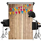 Kate 1.5x2.2m 木目 木製ボード 背景布 色とりどり旗 撮影 背景 木の板 背景纸 写真 子供 写真撮影用 背景 布 装飾用 カスタマイズ可能様々な背景