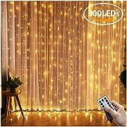Greatever Lichtervorhang, 300 LEDs Lichterkettenvorhang 3M3M IP65 Wasserfest 8 Modi Lichterkette Warmweiß für Weihnachten Party Schlafzimmer Innen und außen Deko, Licht, Nicht abnehmbar