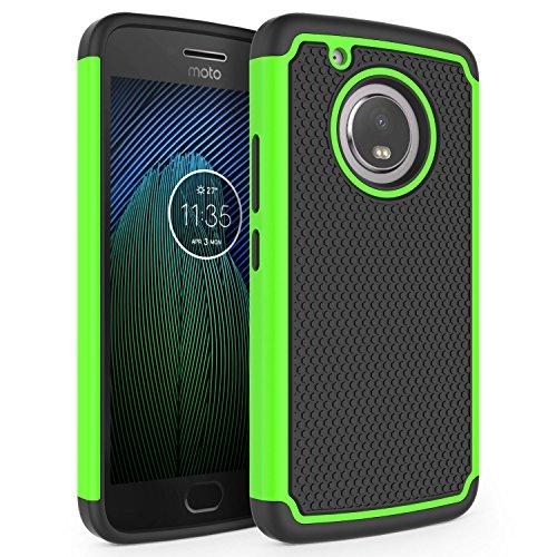 Moto G5 Plus Case, SYONER [Shockproof] Defender Phone Case Cover for Motorola Moto G5 Plus 2017 Released [Green]