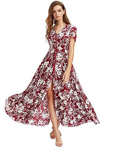 profesional ranking Maxi vestido floral de verano de manga larga para mujer.  Un vestido sexy con escote en pico y estampado floral. elección