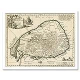 Luyken Old Map of Ceylon Sri Lanka Art Print Framed Poster