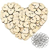 Bememo 100 Pieces Heart Shaped Wooden Discs Wood Tags with 2 Holes and 100 Pieces Rings for Birthday Board Calendar DIY Crafts