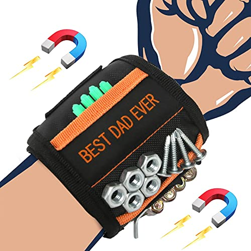 Fathers Day Gifts for Dad Men Birthday Gifts - BEST DAD EVER, Magnetic Wristband Tools, Cool Gadgets Magnetic Belts with Strong Magnets for Holding Screws, Nails, Drill Bits