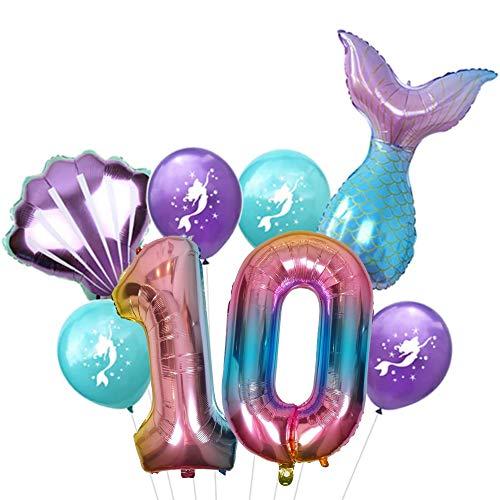DIWULI, großes Meerjungfrau Luftballon Set, XL Zahlen-Ballon Zahl 10, Folien-Ballons, Latex-Ballons 10. Kinder-Geburtstag Junge Mädchen, Motto-Party, Dekoration, Ballon-Set Deko bunt, Meer, Muschel