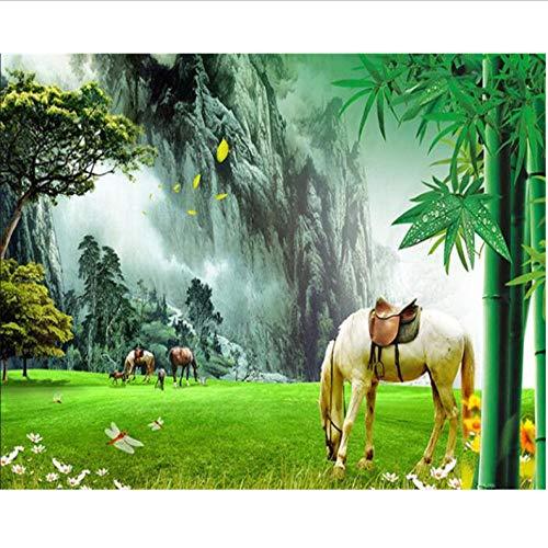 Dalxsh Aangepaste behang, muur, natuur, landschap, wit paard achtergrond voor de woonkamer, slaapkamer, tv, muren, decoratief schilderij 350 x 250 cm.