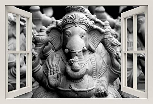 Unified Distribution Ganesh Figur - Wandtattoo mit 3D Effekt, Aufkleber für Wände und Türen Größe: 92x61 cm, Stil: Fenster