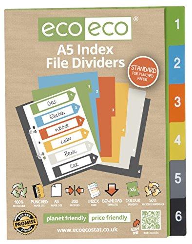 eco-eco eco024 - A5 50% Reciclada Set 6 Divisores de Archivos de Índice