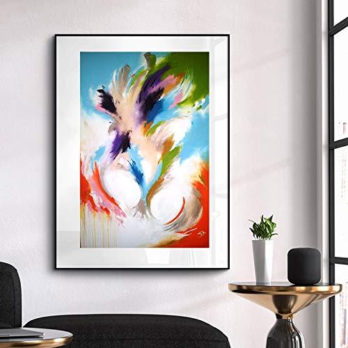 YHZSML Abstrakter Druck Bunte Leinwand Malerei Wandbild für Wohnzimmer Bilder Poster und Drucke Wohnkultur Ungerahmt 40x60cm