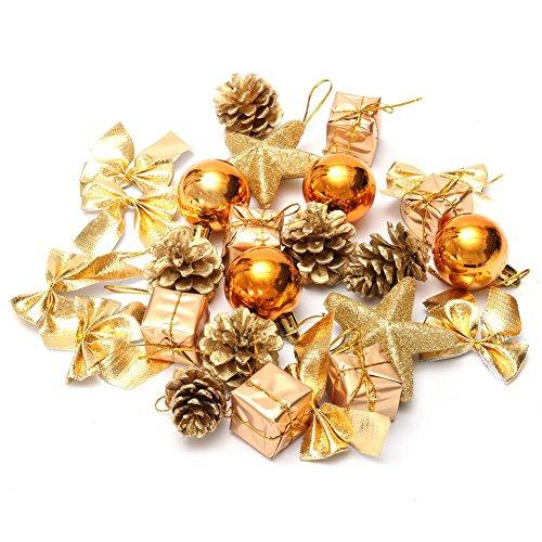 DELEY 24pcs Boules de Noël Jingle Bells Pommes de Pin Bowknot Star Arbre Décorations Originales Christmas Scène Partie Decoration Violet