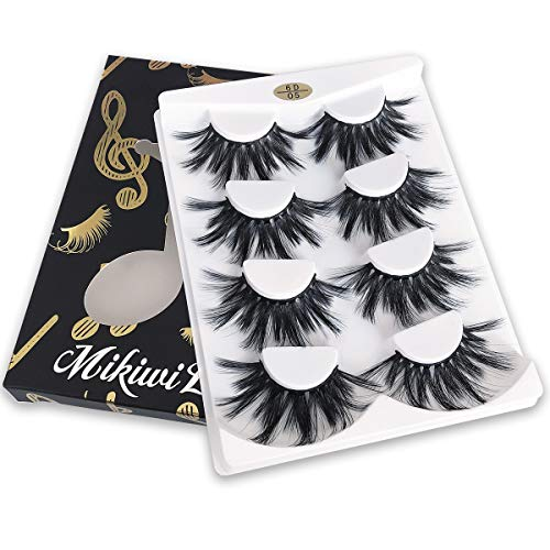 Mikiwi 25mm Lashes, Dramatic 6D Faux Mink Lashes, Fluffy Volume Eyelashes, Thick Crossed Lashes, Long Faux 25mm Mink Lashes (6D4-05) 3