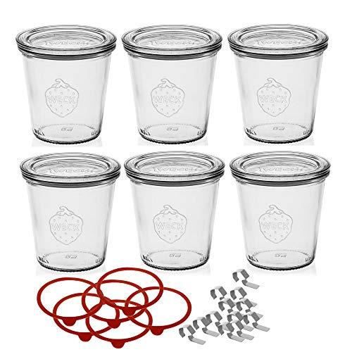 Weck Set di 6 Bicchieri Tumbler Coperchio, Anello di Tenuta e Morsetti, ciascuno da 290 ml, Tonda, 6 unità