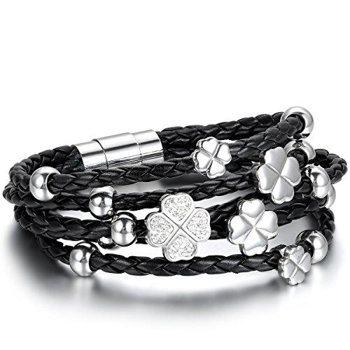 Jewelrywe Gioielli Bracciale da Donna, Braccialetto Charm Clover Trifoglio Fortuna, Pelle Acciaio Inossidabile, Nero Argento (con Borsa Regalo)