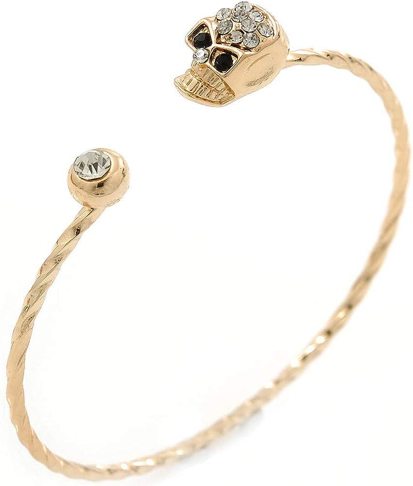 Avalaya Crystal Skull Thin,Twisted, Gold Plated Cuff Bracelet - Adjustable