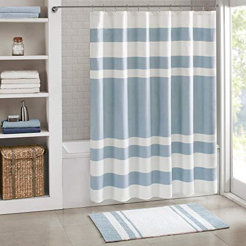 1 Piece 72x84 White Blue Spa Shower Curtain, Denim Stripe Design Curtains Waffle Fabric, Luxurious Bathroom Master Bath Washroom Horizontal Stripes Serene Tranquil Light, Cotton