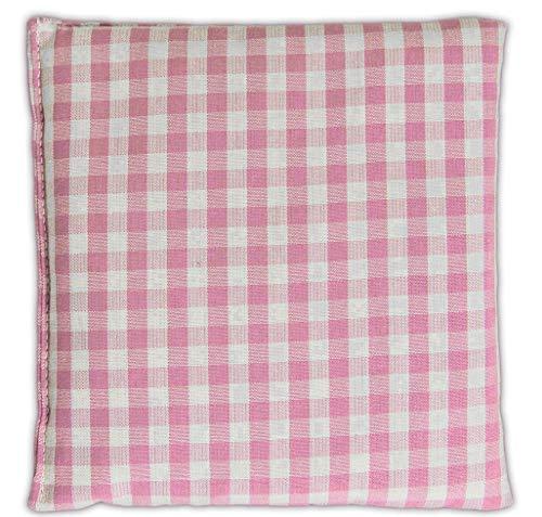 Cuscino termico - Semi di lino - 12x12cm - Cotone bio organico - rosa-bianco - piccolo - Microonde, forno e frigorifero