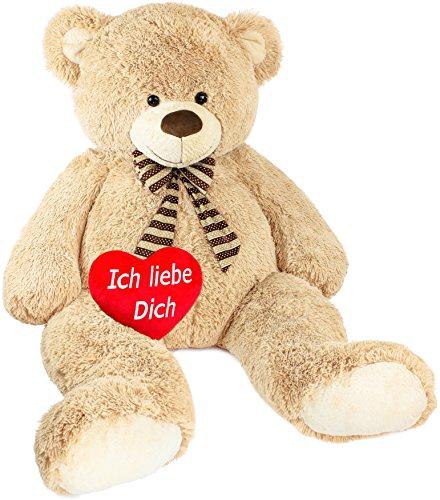 Brubaker Riesiger XXL Teddybär 150 cm groß Beige mit einem 'Ich Liebe Dich' Plüschherz
